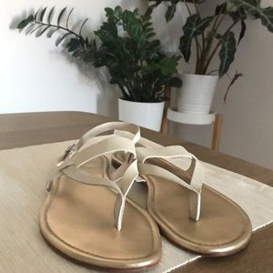 L.L. Bean Signature Cream and Gold Leather Sandal
